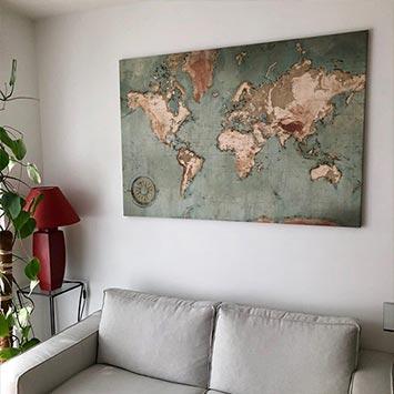Tableau carte du monde déco salon