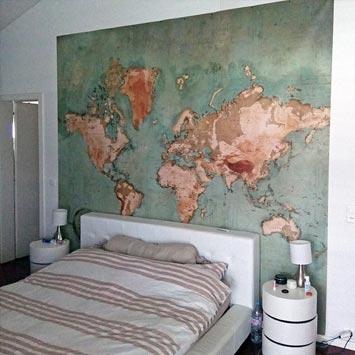 Déco chambre carte du monde vintage