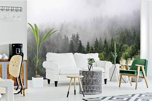 Papier peint salon forêt dans la brume