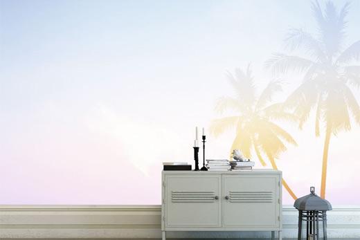 Papier peint salon palmier pastel