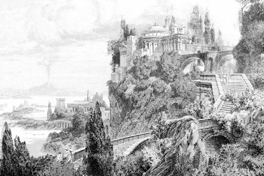 Tableau gravure temple romain