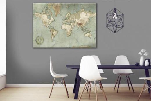 Tableau carte du monde vintage Vintura