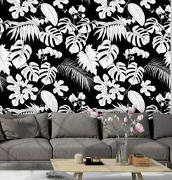 Papier peint jungle noir et blanc