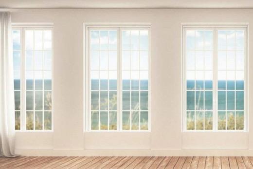 Papier peint trompe l'oeil grandes fenêtres