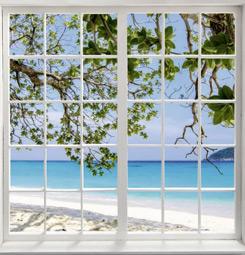 Tableau trompe l'oeil fenêtre sur la plage