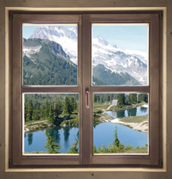 Tableau fausse fenêtre sur la montagne