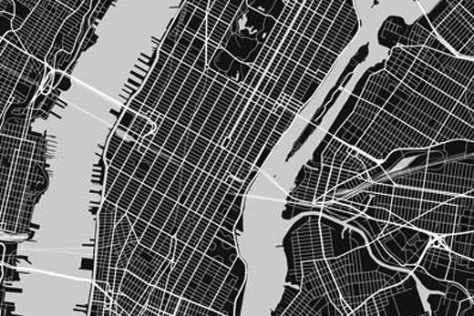 Plan de New York noir et blanc