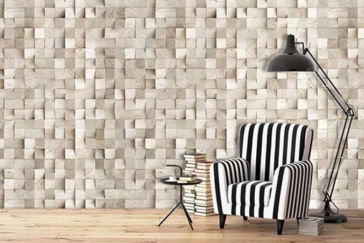 3D effect wooden cubes wallpaper
