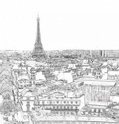 Papier peint dessin de Paris noir et blanc