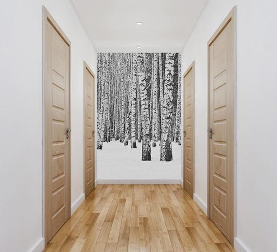 Papier peint couloir noir et blanc