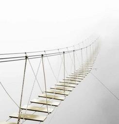 Tableau déco pont dans la brume