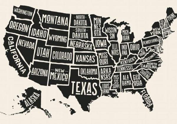 Papier peint carte des Etats-Unis