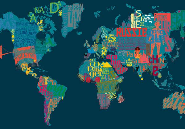 Déco murale carte du monde typo