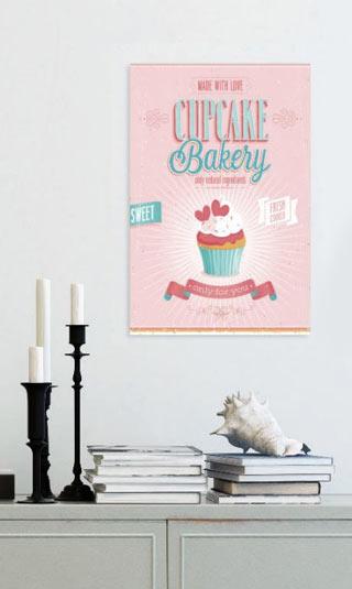Tableau cup cake rose