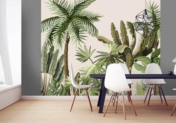 Beige and green kitchen wallpaper