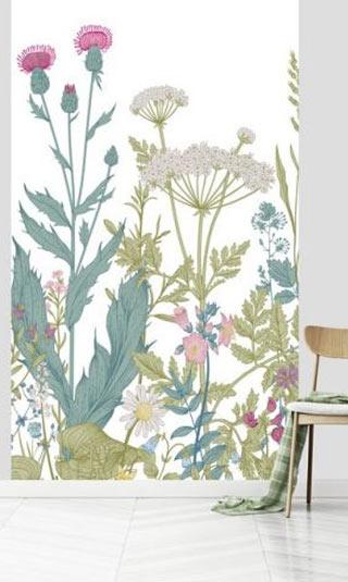 Papier peint fleurs graphiques