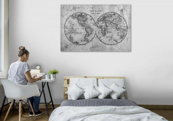 Tableau carte du monde vintage noir et blanc