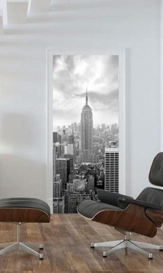 Poster de porte NYC noir et blanc