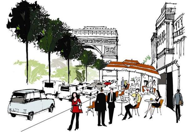 Papier peint Paris Champ Elysees
