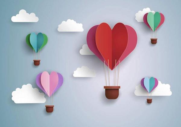 Poster envol des cœurs multicolore