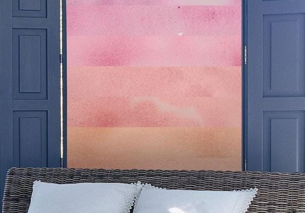 Papier peint aquarelle orange et rose