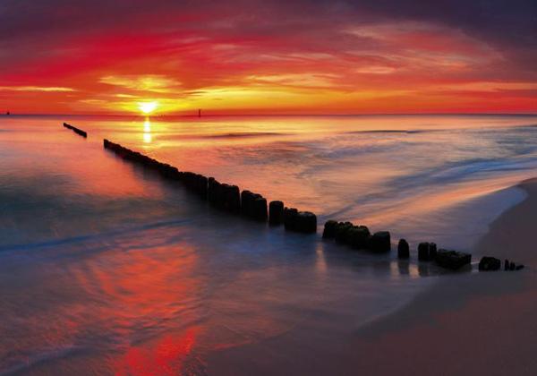 Déco murale rouge coucher de soleil