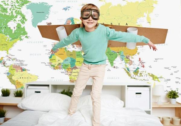 Papier peint carte du monde jaune et verte