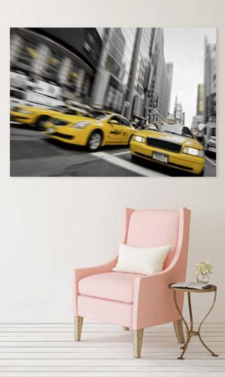 Tableau taxi jaune à New York