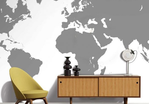 Papier peint carte du monde une nuance de gris
