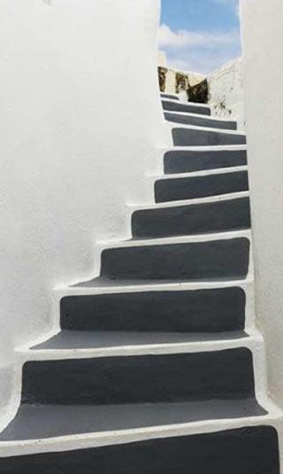 Poster escalier vers la terrasse