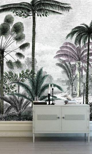 Papier peint déco gravure jungle