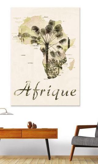 Tableau carte Afrique vieillie