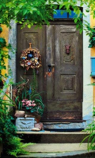 Poster porte de bois fleurie
