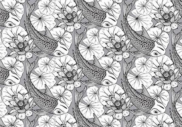 Papier peint dessin fleur et poisson