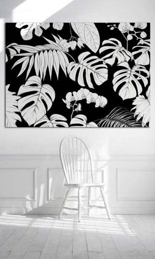 Tableau motif fleurs noir et blanc