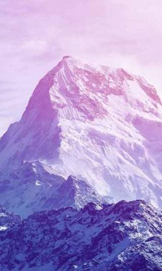 Poster montagne romantique rose