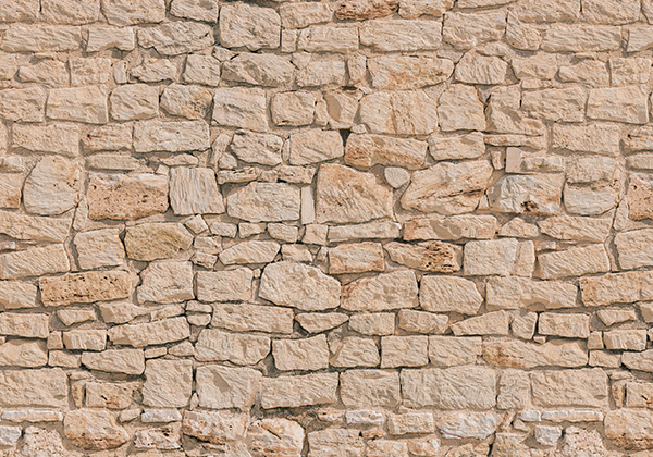 Beige stone privacy screen