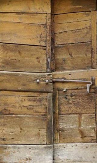 Wooden door privacy screen